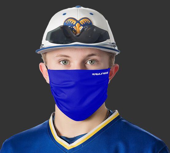 A player wearing a blue Performance wear ear loop mask - SKU: RMSKE-BLU
