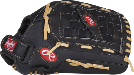 Thumb view of a black RSS125C RSB 14-inch outfield glove with a black Basket web with support strap