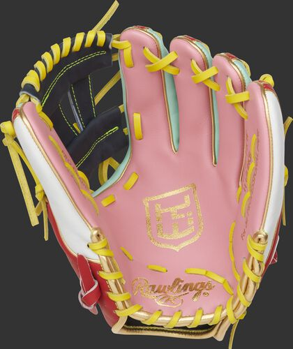 Pink palm of a Kolten Wong Heart of the Hide glove with his personal logo and yellow laces - SKU: PRO314-7KW