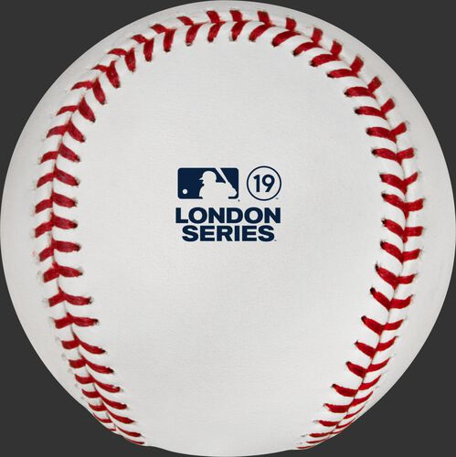 The official MLB London Series 2019 logo stamped on the ROMLBLS19 baseball