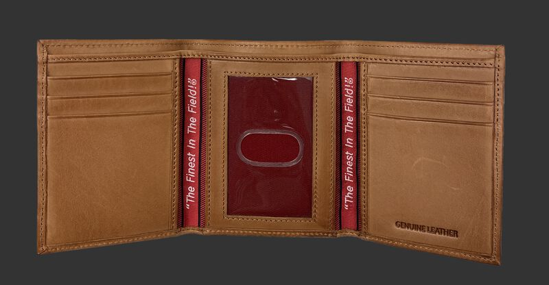 Inside of a tan Rawlings Play Ball tri-fold wallet with multiple credit card slots and clear ID window - SKU: MW479-204