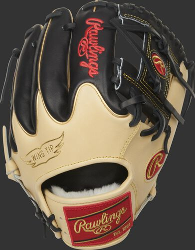 Back of a 2021 Pro Preferred I-web glove with black fingers, camel Wing Tip back and red Rawlings patch - SKU: PROS204W-2CBG