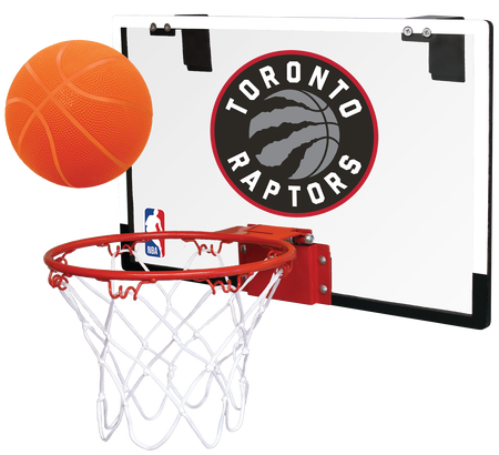 NBA Toronto Raptors Game On hoop set with the Raptors logo printed on the back and an orange ball above the rim
