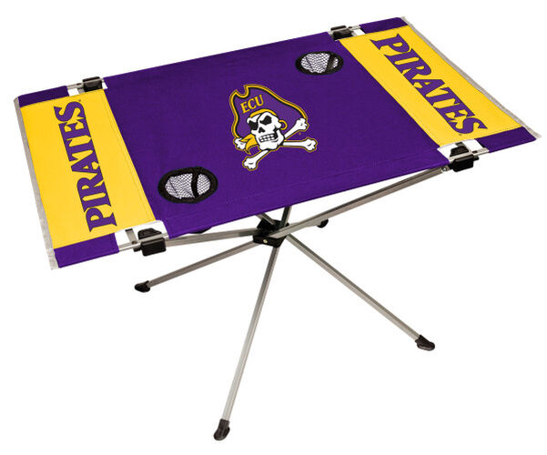Rawlings Purple and Gold NCAA East Carolina Pirates Endzone Table With Two Cup Holers, Team Logo, and Team Name SKU #04053017111