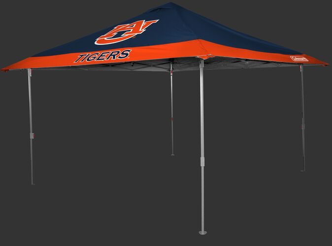 Front of Rawlings Orange and Blue NCAA Auburn Tigers 10x10 Eaved Canopy With Team Logo and Name SKU #07843003111