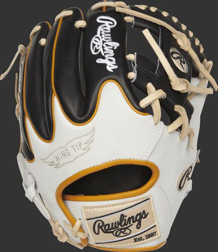 PROR204W-2B Rawlings R2G glove with a white and black wing tip back