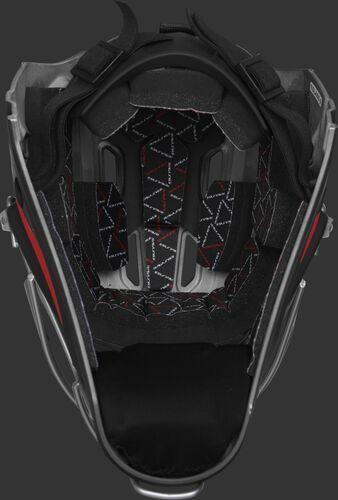 Inside foam of a black/scarlet CHV27J Rawlings catcher's helmet