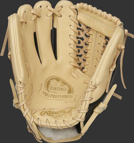 Camel palm of a left hand throw Rawlings Pro Preferred infield/pitcher's glove with a camel web and laces - PROS205-4CSS-RH