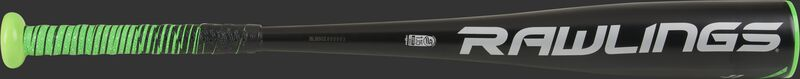 A gray Rawlings logo on the black barrel of a 5150 coach pitch bat - SKU: UT1511