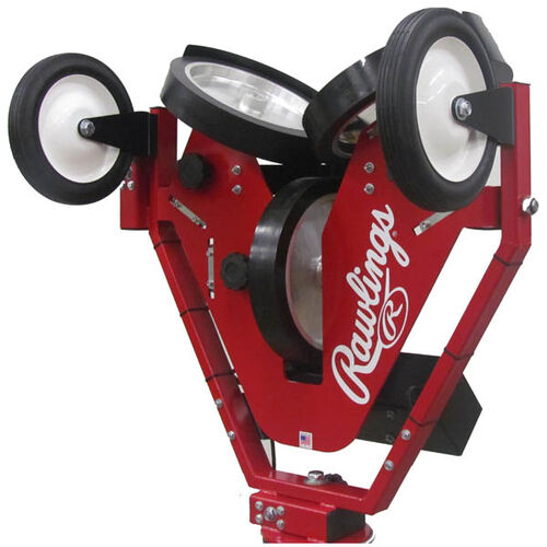 Side of Rawlings Red Spin Ball Pro 3 Wheel Baseball Pitching Machine With Brand Name SKU #RPM3BB