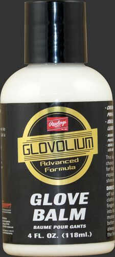 A bottle of Rawlings Glovolium Glove Balm for glove care and maintenance SKU #GLVBALM
