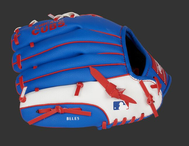 Back of a blue/white Rawlings Chicago Cubs youth glove with the MLB logo on the pinky - SKU: 22000008111