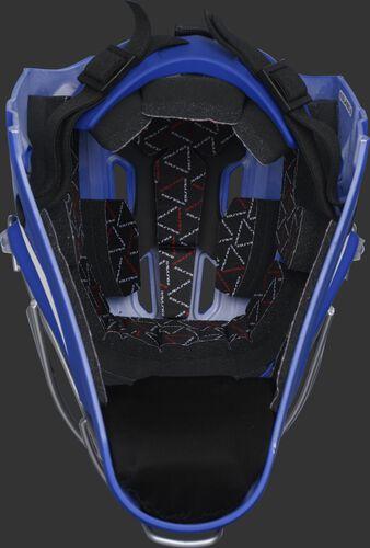 Inside foam of a royal CHV27J Rawlings catcher's helmet