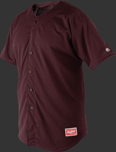 Front of Rawlings Maroon Adult Short Sleeve Jersey  - SKU #RBJ167