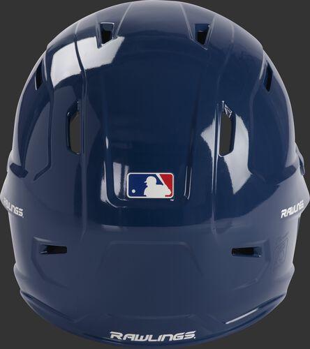 Back of a black MCH01A Rawlings Mach baseball helmet with a MLB logo sticker