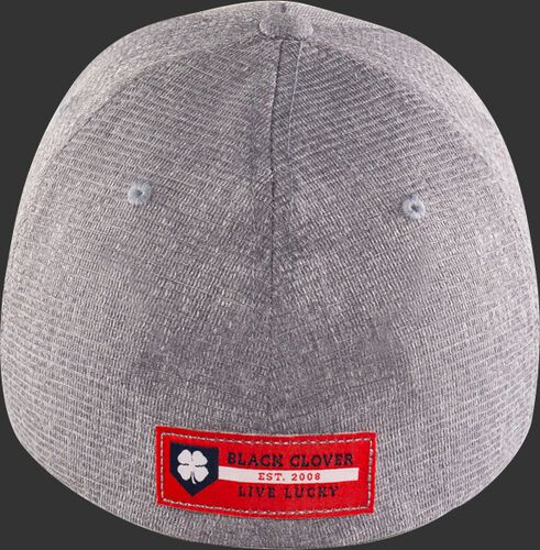 Red Black Clover logo patch on the back of a grey Rawlings Black Clover fitted hat - SKU: BCRBCN0061
