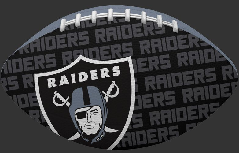 Black side of a NFL Oakland Raiders Gridiron football with the team logo SKU #09501072121