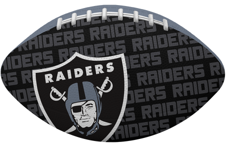 Black side of a NFL Oakland Raiders Gridiron football with the team logo