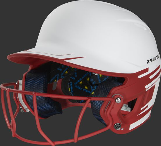 Front left of a white/scarlet Mach softball helmet with a scarlet mask - SKU: MSB13S-W/S