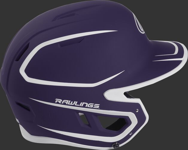 Right side of a two-tone matte purple/white MACH helmet