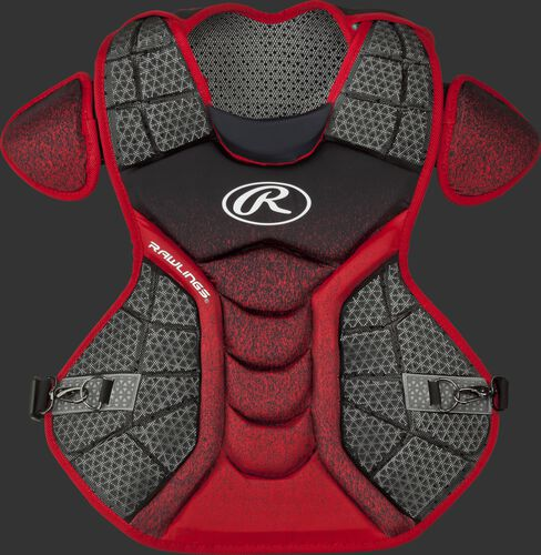 A black/scarlet CPVEL Velo series adult chest protector