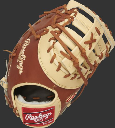 Bruciato back of a Pro Preferred Matt Olson first base mitt with a camel single post, double bar web - SKU: PROSDCTMO28