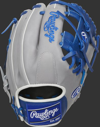 Grey back of a Heart of the Hide I-web infield glove with a royal Rawlings patch - SKU: PRO204-2GR