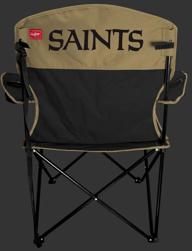 Back of Rawlings Black and Gold NFL New Orleans Saints Lineman Chair With Team Name SKU #31021077111