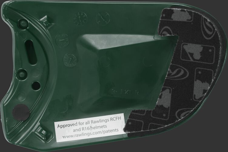 Padding on a dark green REXT Rawlings R-EXT universal batting helmet face guard extension