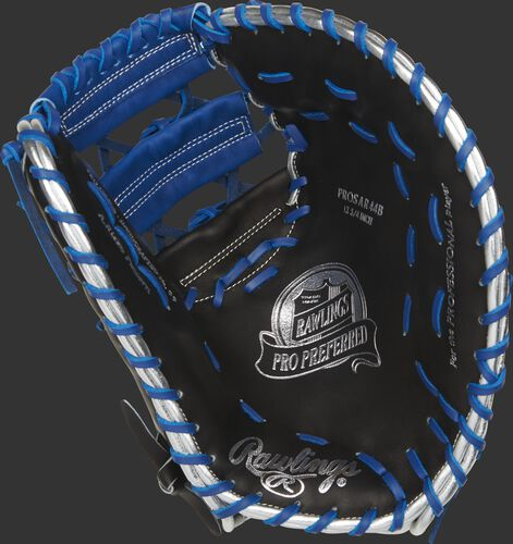 Black palm of a Rawlings Anthony Rizzo 1st base mitt with a royal web and laces, and silver stamping - SKU: PROSAR44B