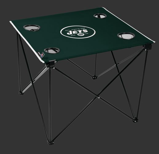 Rawlings Green and White NFL New York Jets Deluxe Tailgate Table With Four Cup Holders and Team Logo SKU #00701079111