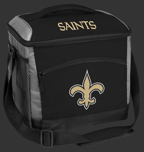 A black New Orleans Saints 24 can soft sided cooler with screen printed team logos - SKU: 10211077111