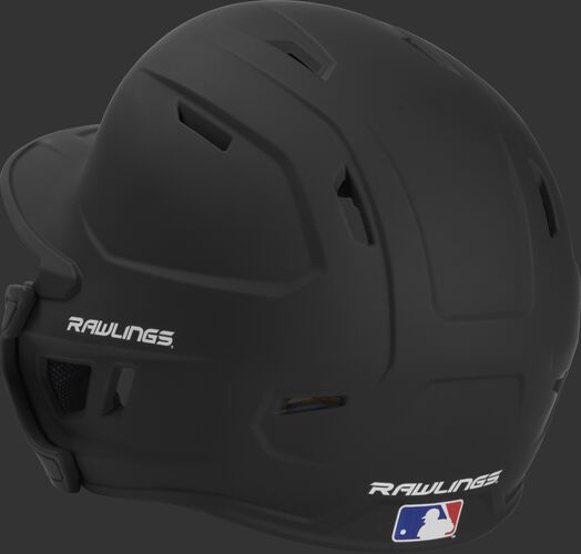 Back left view of a matte black MACHEXTR MACH series batting helmet with air vents