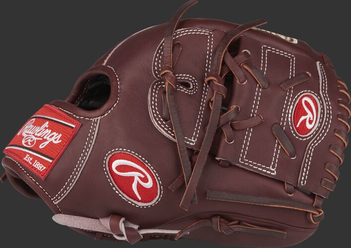Thumb view of a PRO205-9SHFS Heart of the Hide 11.75-inch glove with a dark sherry two-piece solid web and hand-sewn welting