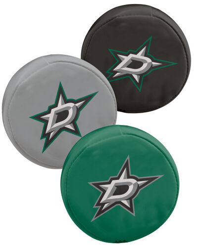 Rawlings NHL Dallas Stars Three Puck Softee Set With Black, Grey, and Green Pucks and Team Logo SKU #00614125111