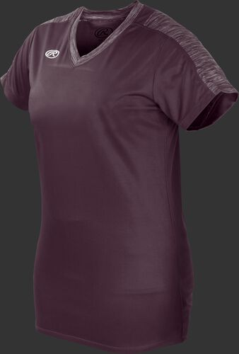 Front of Rawlings Women's Maroon Adult Short Sleeve Launch Jersey  - SKU #WLNCHJ-DG-89