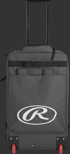 Back of a grey/black R1801 Rawlings catcher's backpack with a large, white Oval R logo