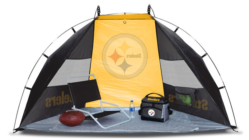A Pittsburgh Steelers sideline sun shelter set up with a chair, cooler, football and water bottle - SKU: 00961082111