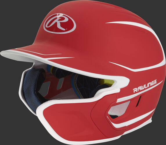 Left angle view of a matte scarlet/white MACHEXTR Mach Senior helmet with Mach EXT right hand batter face guard extension