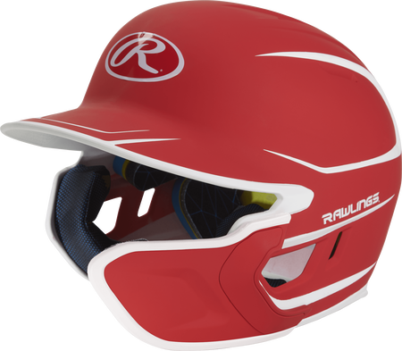 Left angle view of a matte scarlet/white MACHEXTR Mach junior helmet with Mach EXT right hand batter face guard extension