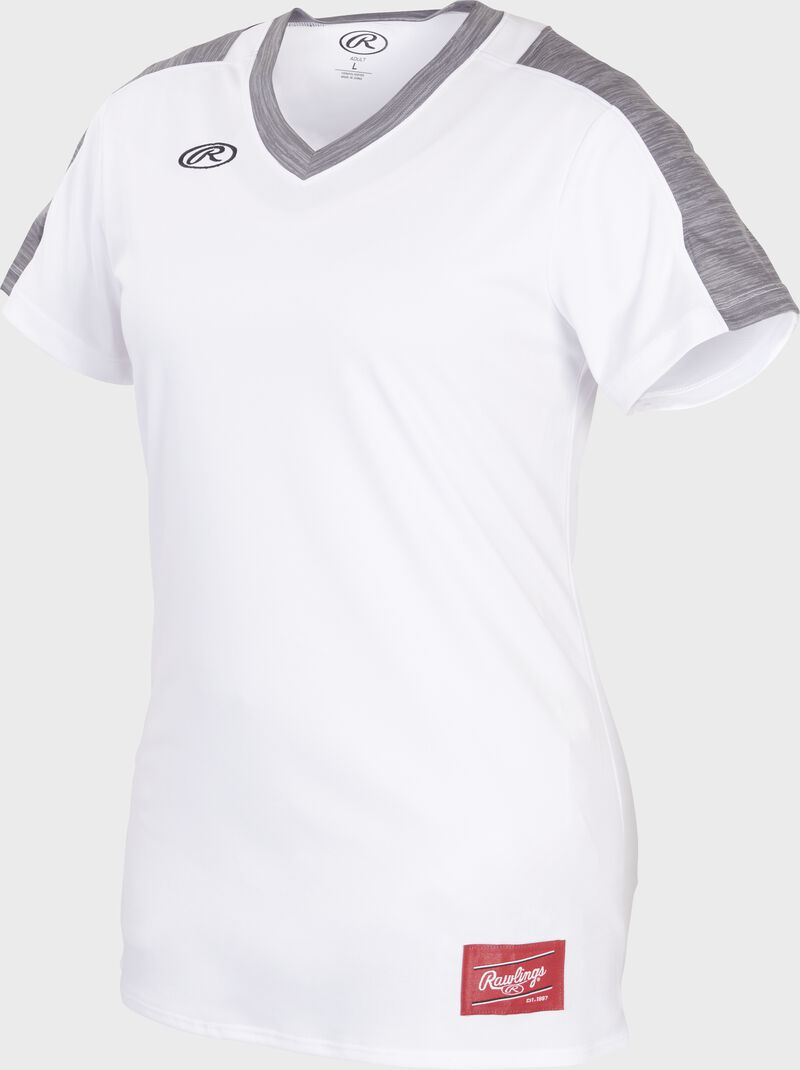 Front of Rawlings Women's White/Gray Adult Short Sleeve Launch Jersey  - SKU #WLNCHJ-W