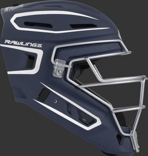 Right side of a navy CHV27J Velo 2.0 youth size catcher's helmet
