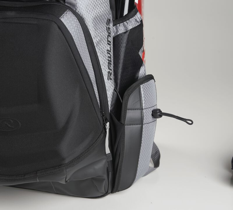 Left side compartment on a Rawlings R1000 Gold Glove backpack