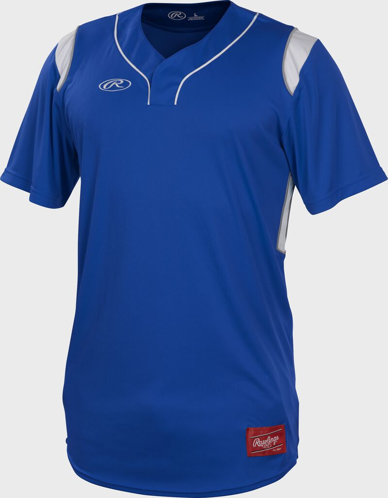 A royal Rawlings short sleeve hidden button jersey with white shoulder inserts - SKU: HBJ-R