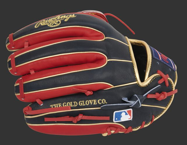 Navy/scarlet finger backs of a Heart of the Hide H-web infield glove with the MLB logo on the pinkie - SKU: PRO315-6NS