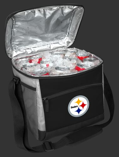 An open Pittsburgh Steelers 24 can cooler filled with ice and drinks - SKU: 10211082111