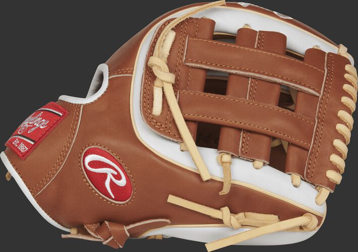 Thumb view of a PRO314-6GBW Heart of the Hide 11.5-inch infield glove with a golden brown H web