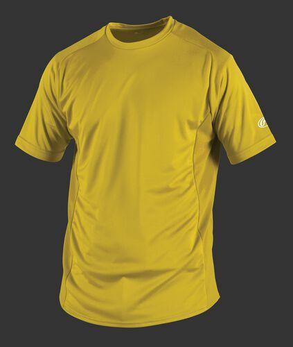 Front of Rawlings Adult Light Gold Short Sleeve Shirt - SKU #SSBASE
