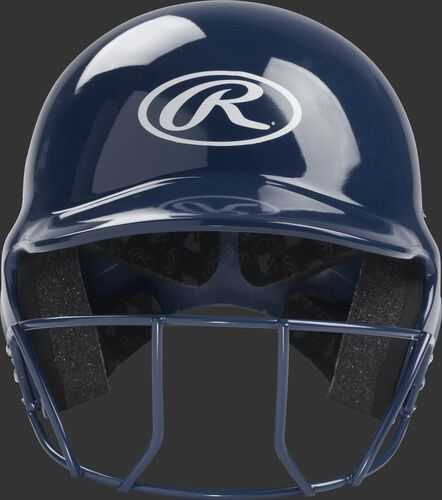 Front of a navy Rawlings T-ball helmet with a navy face mask and white Oval-R logo - SKU: MODMLTBFG-N