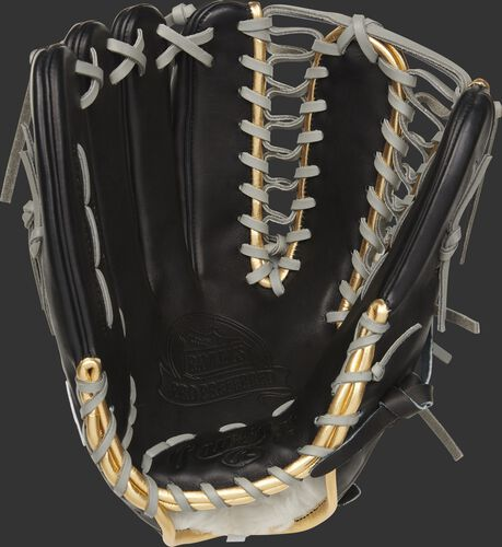 Black palm of a LH throw 2021 Rawlings Pro Preferred outfield glove with a black web and grey laces - SKU: PROSMT27B-RH